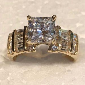 14KT Yellow Gold Princess Cut CZ Ring